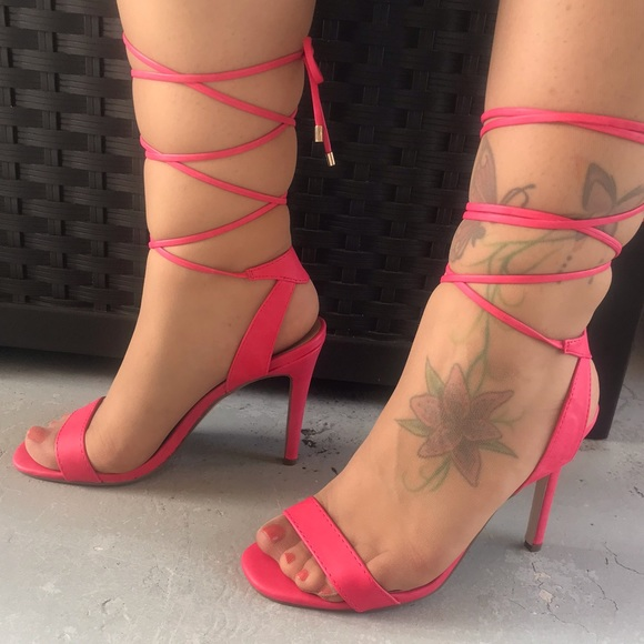 Breckelle's lace up heel sandals